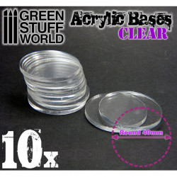 Acrylic bases clear. 40 mm (x10).