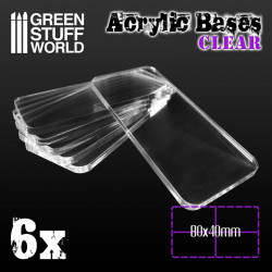Acrylic bases square clear, 80x40 mm (x6).