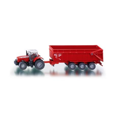 Massey-Ferguson MF 8480 tractor with trailer. SIKU 1844