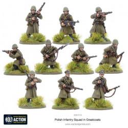 Escuadrón de infantería polaco en abrigos. Bolt Action.