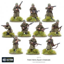 Polish Infantry Squad in greatcoats. Bolt Action.