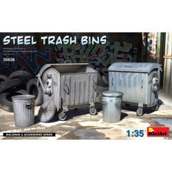 Steel trash bins.