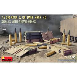 7.5 cm Pzgr. & Gr. Patr. Kw.K. 40 shells with ammo boxes.