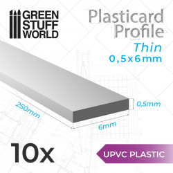 10 uPVC Plasticard thin 0.5x6mm.