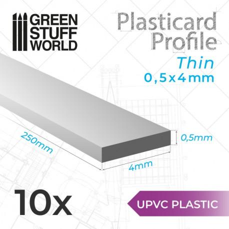 10 uPVC Plasticard thin 0.5x4mm.