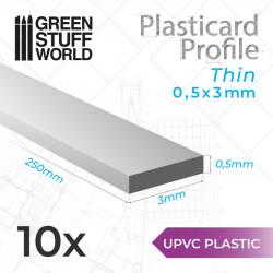10 perfiles Plasticard fino 0.5x3mm.