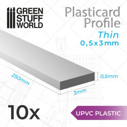 10 uPVC Plasticard thin 0.5x3mm.