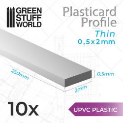 10 perfiles Plasticard fino 0.5x2mm.