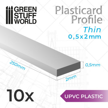 10 uPVC Plasticard thin 0.5x2mm.