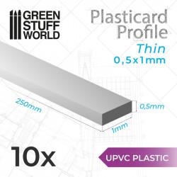 10 perfiles Plasticard fino 0.5x1mm.