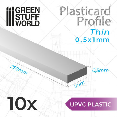 10 uPVC Plasticard thin 0.5x1mm.