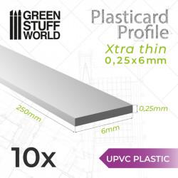 10 perfiles Plasticard ultra fino 0.25x6mm.