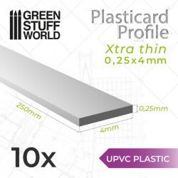 10 perfiles Plasticard ultra fino 0.25x4mm.