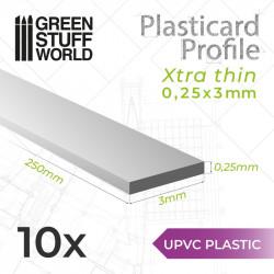 10 perfiles Plasticard ultra fino 0.25x3mm.