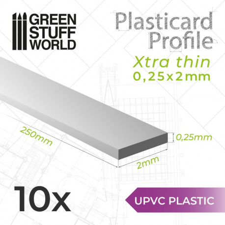 10 uPVC Plasticard extra thin 0.25x2mm.