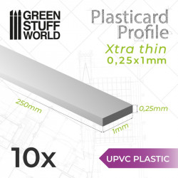 10 perfiles Plasticard ultra fino 0.25x1mm.