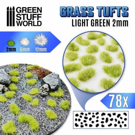 Grass tufts, light green. 2 mm.