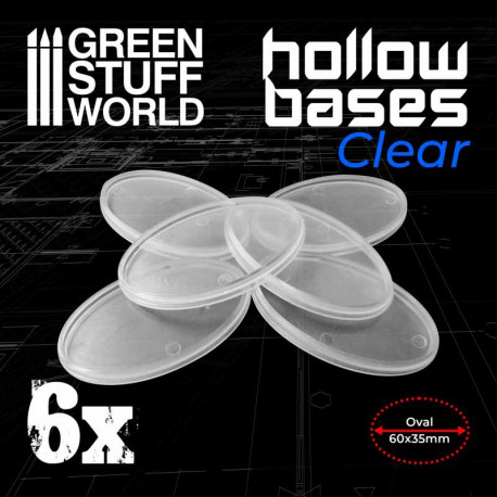 Hollow plastic bases transparent oval, 60x35 mm (x6).