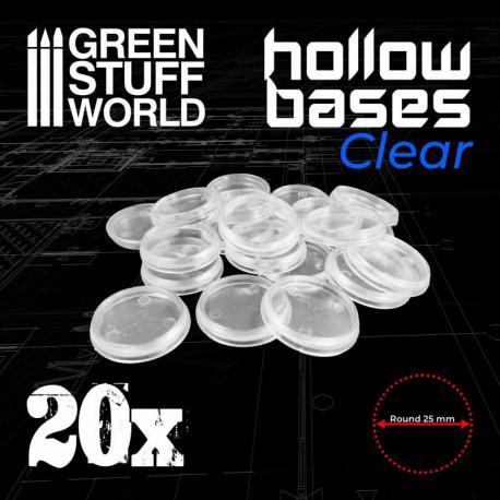 Hollow plastic bases transparent round, 25 mm (x20).
