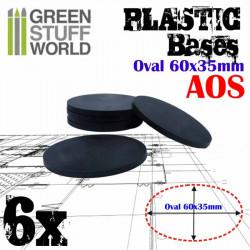 Peanas de plástico, ovaladas 60x35 mm (x6).
