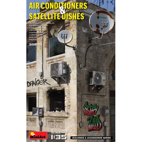 Air conditioners and satellite dishes.