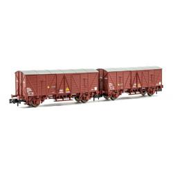 Set of J3 closed wagons, RENFE.