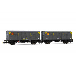 Set of J3 closed wagons, RENFE. TE.