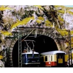 Dos bocas de túnel de doble vía.