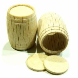 Wooden barrels. 15 x 18 mm. 4 pieces.