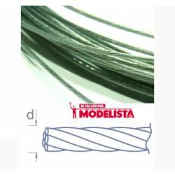 Cable de acero trenzado. 1,0 mm.