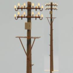 Electric wood pole with box and platform.
