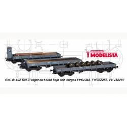 3-set wagons series MM, RENFE. With loads. MABAR 81402